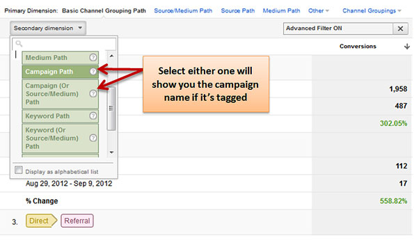 Google Analytics Conversion Paths Secondary Dimensions